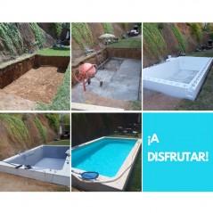 Proceso piscina automontable
